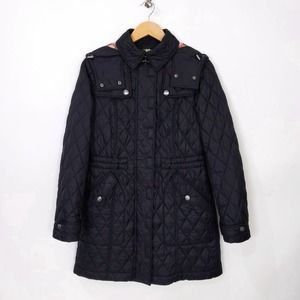 Burberry Brit Hooded Diamond Quilted Long Coat Jacket Black
